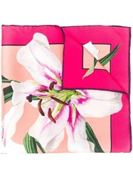 Dolce And Gabbana Lily Print Scarf Pink