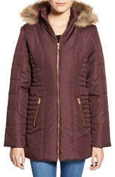 Junior Women's Celebrity Pink Quilted Coat With Faux Fur Trim