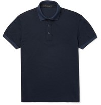 Ermenegildo Zegna Slim Fit Cotton Pique Polo Shirt Navy