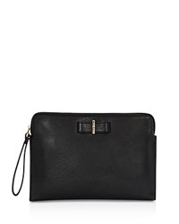 Karen Millen Bow Leather Clutch Black