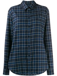 Martine Rose Check Print Long Sleeved Shirt Blue