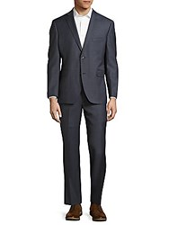 Saks Fifth Avenue Slim Fit Textured Wool Suit Blue Chambray