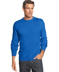 John Ashford Big And Tall Ribbed Crew Neck Sweater City Blue