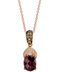 Le Vian Rhodolite Garnet And Diamond 1 5 8 Ct. T.W. Pendant Necklace In 14K Rose Gold Red
