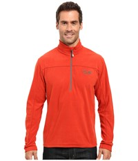 Mountain Hardwear Microchill Lite Zip T Dark Fire Men's Long Sleeve Pullover Orange