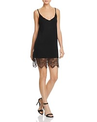 French Connection Swift Drape Lace Trim Slip Dress Black Black