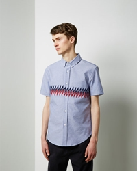 Band Of Outsiders Printed Panel Shirt Light Blue