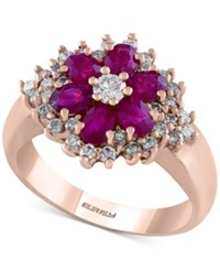 Effy Final Call Ruby 1 3 8 Ct. T.W. And Diamond 5 8 Ct. T.W. Flower Ring In 14K Rose Gold