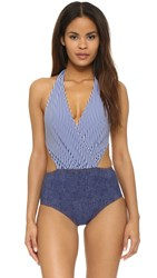 Karla Colletto Seersucker Halter Monokini Navy White