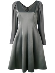 Emporio Armani Flared Party Dress Women Silk Polyester Acetate 40 Grey