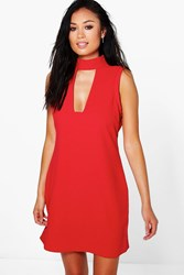 Boohoo High Neck Cut Out Sleeveless Shirt Dress Red