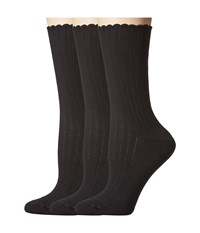 Hue Scalloped Pointelle Sock 3 Pack Black Solids Women's Crew Cut Socks Shoes