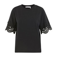 See By Chloe Lace Detail T Shirt Black