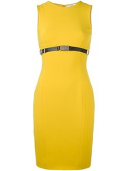Versace Collection Waist Embellished Short Dress Yellow And Orange