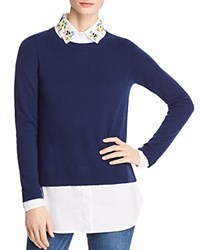 Bloomingdale's C By Layered Look Embellished Sweater 100 Exclusive Navy