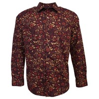 Lords Of Harlech Nigel Shirt In Berry Floral Red