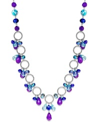 Style And Co. Silver Tone Purple And Blue Shaky Bead Long Necklace