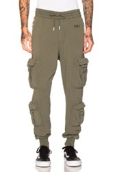 Off White Washed Cargo Pant In Green
