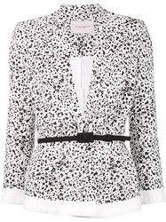 Carolina Herrera Dots Print Peplum Jacket White