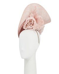 Philip Treacy Halo Straw Hat W Rosettes And Lace Blush