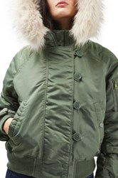 Topshop Ma1 Bomber Jacket With Faux Fur Hood Green