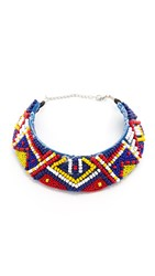 All Things Mochi Beaded Choker Necklace Blue Multi