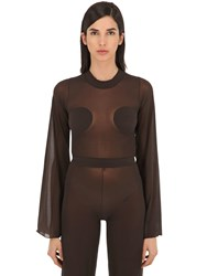 Courreges Gerbe Sheer Stretch Top Brown