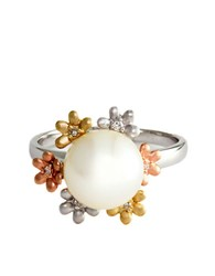 Effy 14Kt White Yellow And Rose Gold Freshwater Pearl Ring With Diamond Accents