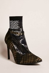 Forever 21 Fishnet Camo Print Pumps Tan Olive