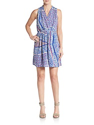 Collective Concepts Floral Pleated Blouson Dress Blue Multi