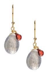 Candela Labradorite And Garnet Dangle Earrings