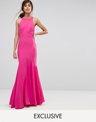 Jarlo Fishtail Maxi Dress With Open Bow Back Fuschia Pink