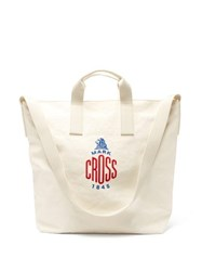 Mark Cross Weatherbird Large Embroidered Logo Canvas Tote Bag White