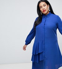 Lost Ink Plus Shirt Dress With Ruffle Detail Blue