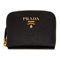 Prada Black Mini Zip Around Wallet