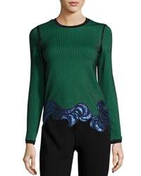 3.1 Phillip Lim Long Sleeve Embellished Ribbed Striped Top Green Black Green Black
