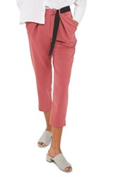Topshop Women's Belted Peg Trousers Raspberry