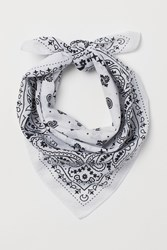 Handm H M Paisley Patterned Scarf White