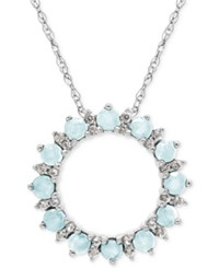Macy's Aquamarine 3 4 Ct. T.W. And White Topaz 1 5 Ct. T.W. Circle Pendant Necklace In Sterling Silver