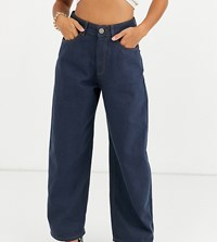 Asos Design Petite High Rise 'Relaxed' Dad Jeans In Smokey Blue Wash