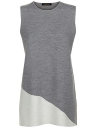 Jaeger Milano Wool Tunic Top Grey Melange Ivory