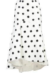 Monique Lhuillier Dotted Flared Skirt White