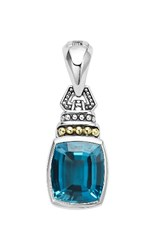 Lagos Women's 'Caviar Color' Semiprecious Stone Clip Pendant London Blue Topaz