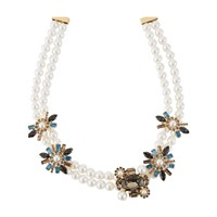 Erdem Crystal Bloom Necklace Blue Grey