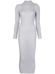 Balmain Turtleneck Maxi Dress Grey