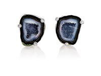 Jan Leslie Men's Druzy Agate Cufflinks Black