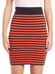Akris Punto Graphic Stripe Knit Skirt Rust Navy