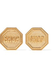 Moschino Gold Tone Earrings One Size