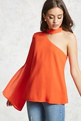 Forever 21 One Shoulder Choker Top Red