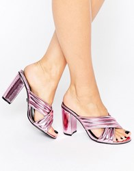 Daisy Street Pink Metallic Mule Heeled Sandals Pink Metallic